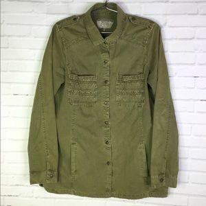 ZARA Trafaluc Women's L Green Button Shirt Jacket